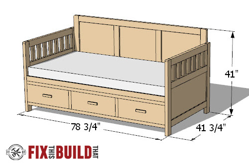 diy daybed plans twin bed
