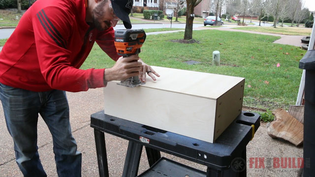 chamfering a drawer bottom with a router bit