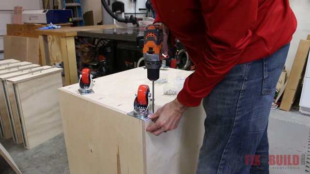 mounting casters to a cabinet