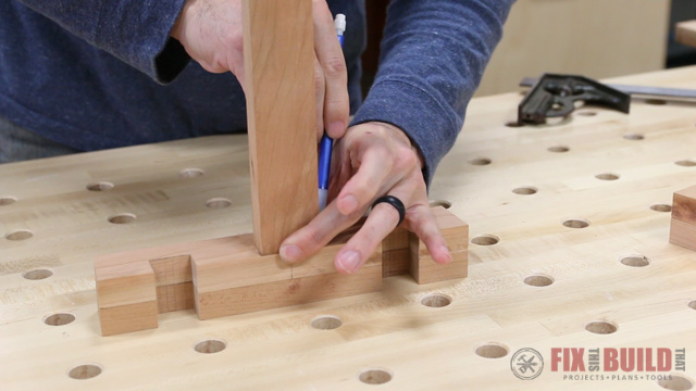 laying out a stretcher for a wooden step stool