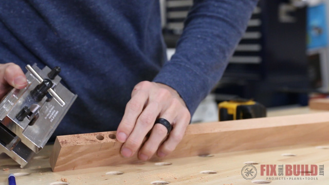 drilling dowel holes with a self centering dowel jig
