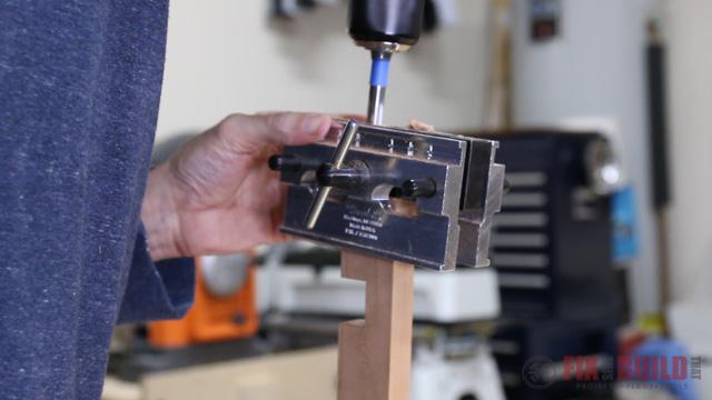 drilling dowel holes into end grain