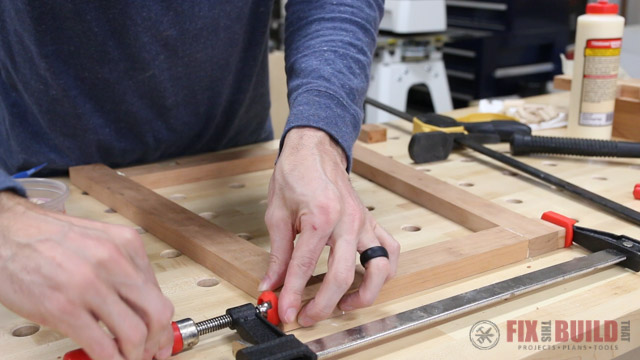 assembling a step stool with dowel joints