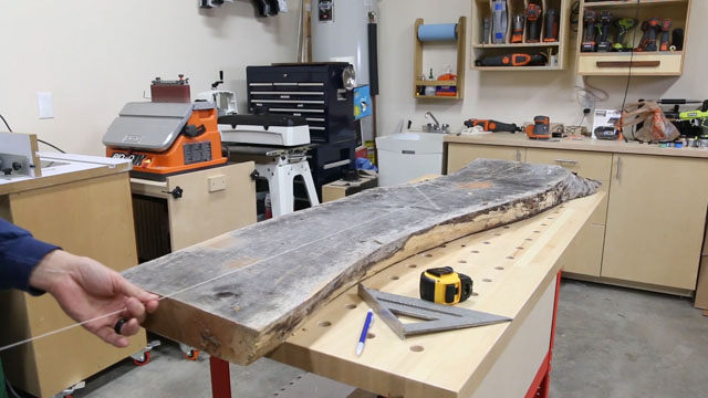 Cutting a Cherry Slab for a River Table