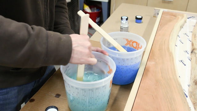 mixing epoxy resin for a river table