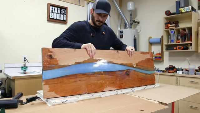 epoxy resin river table clean up