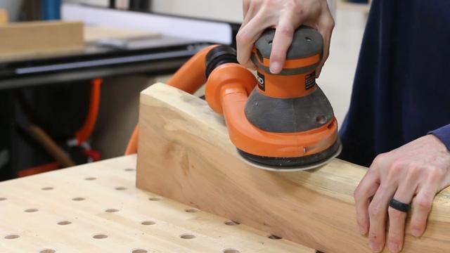 sanding live edge slabs