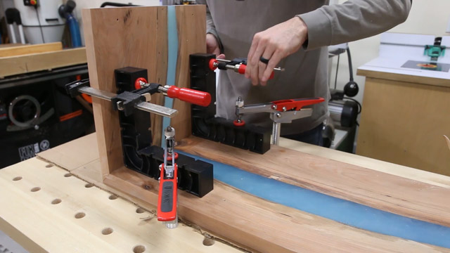 how to clamp a waterfall table joint