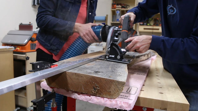 ripping a slab in half with a circular saw