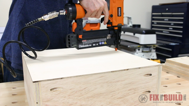 Nailing on the Plywood Drawer Bottoms