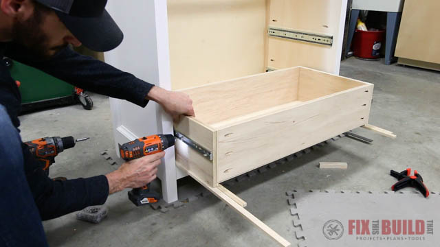 mounting drawers in a DIY dresser