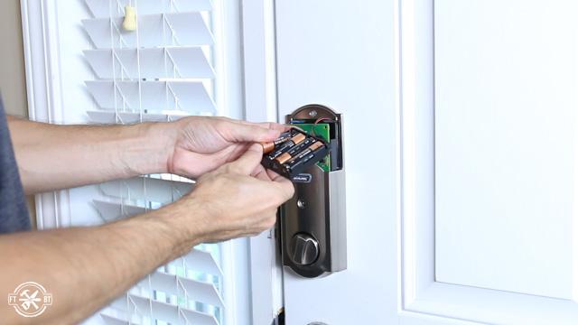 putting batteries in keyless lock on front door
