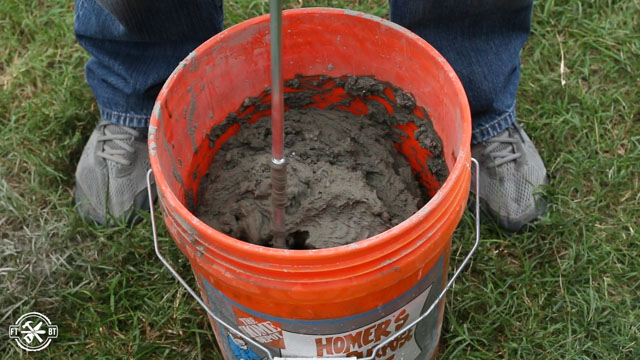 mixing mortar for the floor tiles