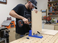 putting pocket holes in piece of wood with jig