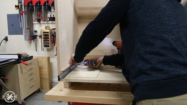 screwing in full extension drawer slides to cabinet