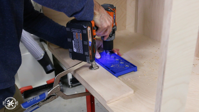 drilling holes for adjustable shelf in wooden cabinet
