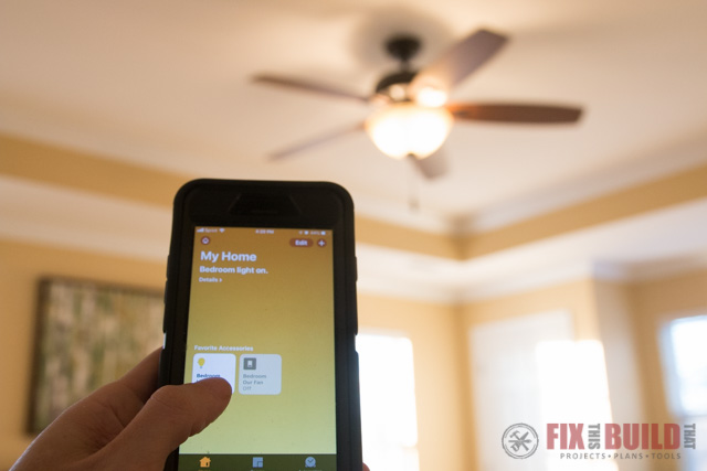 turning on ceiling fan with app on smart phone