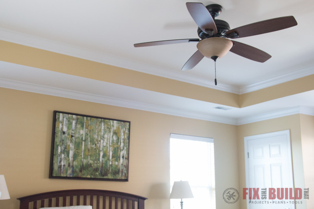 ceiling fan in yellow room