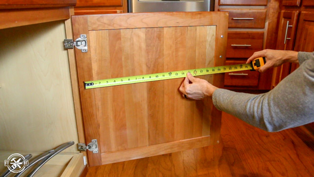 DIY Pot Lid Holder Measuring Door