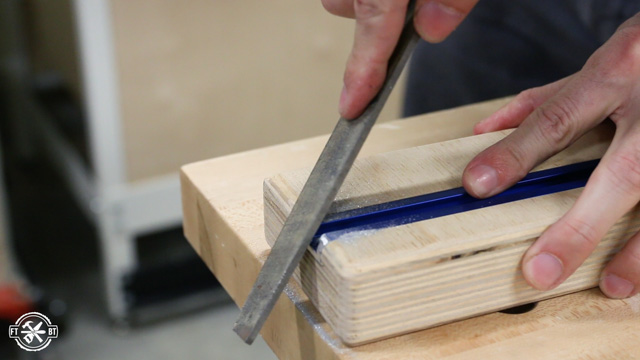 filing edge of track on table saw sled