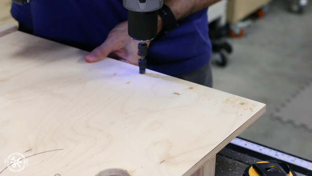 drilling holes in table saw sled