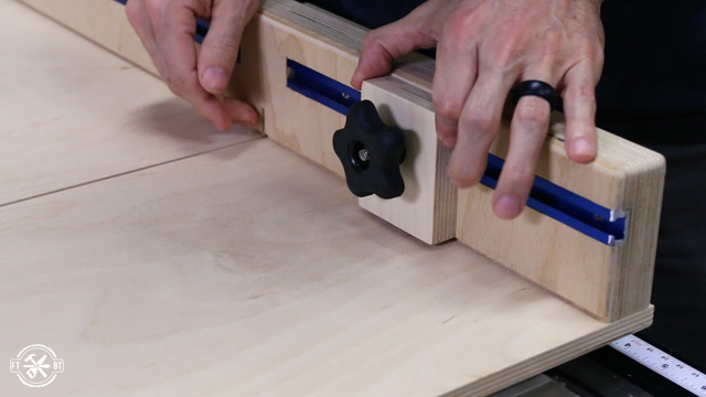 attach stop block to table saw sled