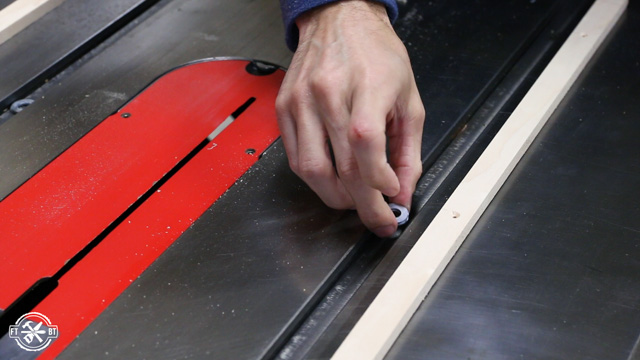 washers in miter slots on table saw