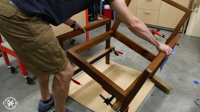 putting the clamped chair upright