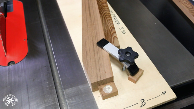 using tapering jig and table saw to cut wood