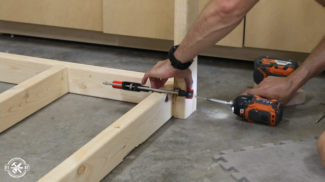 attaching table leg with screws