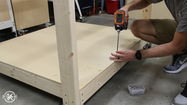 attaching bottom shelf of table