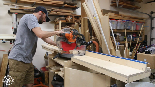 Making cuts on miter saw for table frame