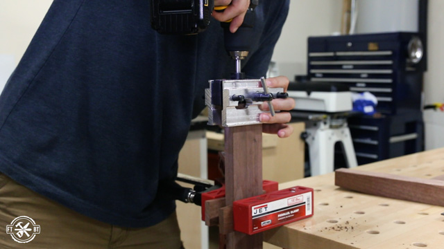 drilling holes with self centering dowel jig
