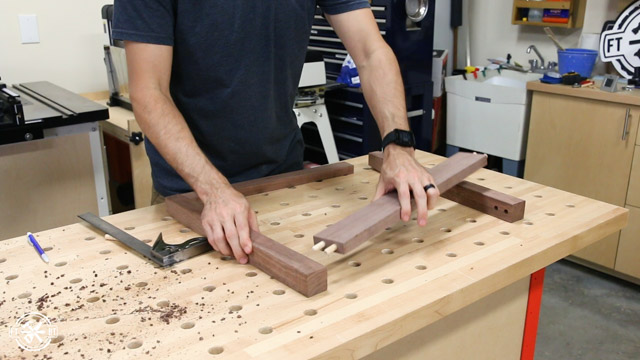 attaching table side with dowels for dry fit
