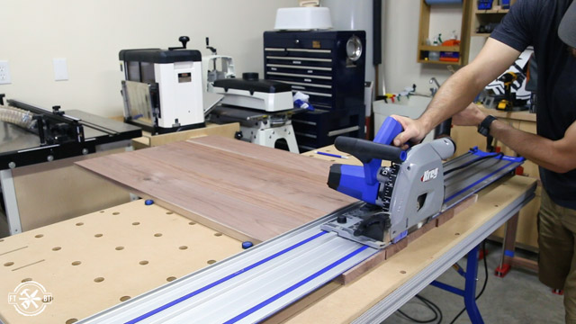 cutting a board with Kreg Jig ACS Table and Track Saw