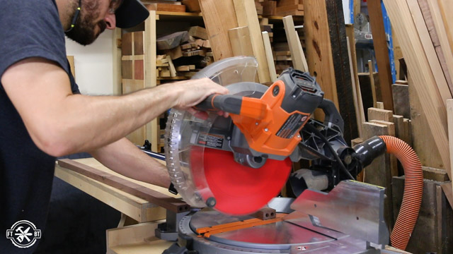cutting wood on miter saw