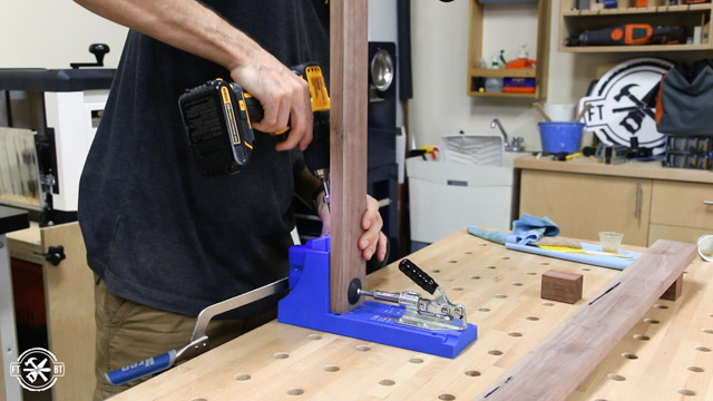 putting pocket holes with kreg jig in wood