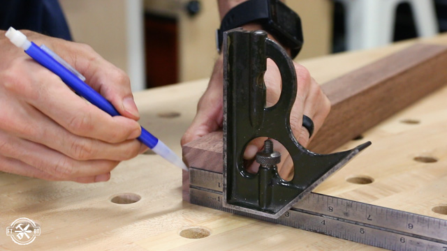 marking wooden table leg for taper