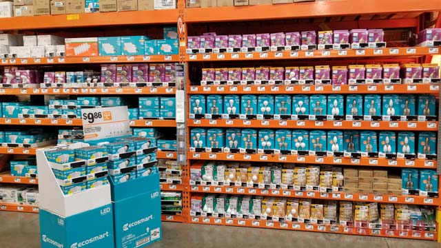 LED light bulbs at Home Depot