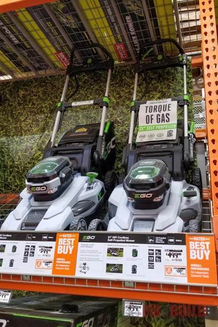 EGO electric lawnmower at Home Depot