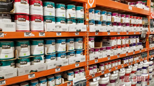 BEHR paint on shelves at Home Depot