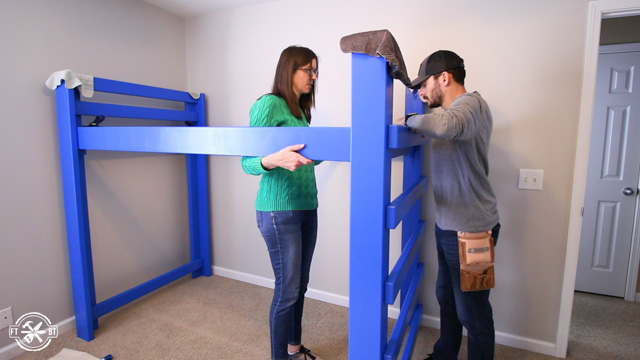 attaching foot board to diy loft bed