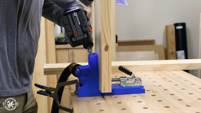 using kreg K4 to drill pocket holes into wood