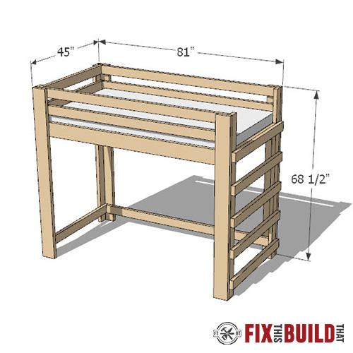 diy loft bed plans from 2x4