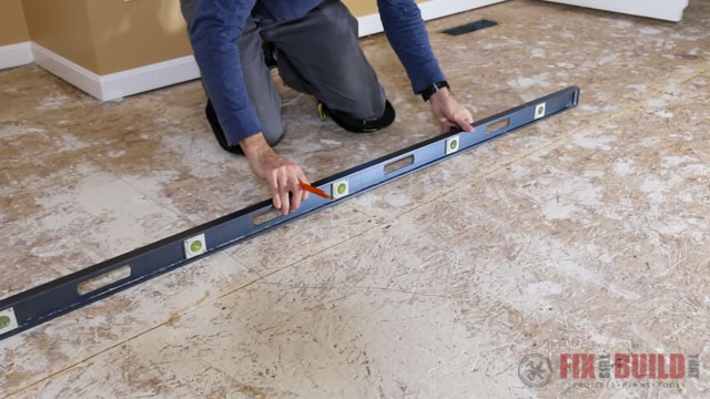 using level to check floors