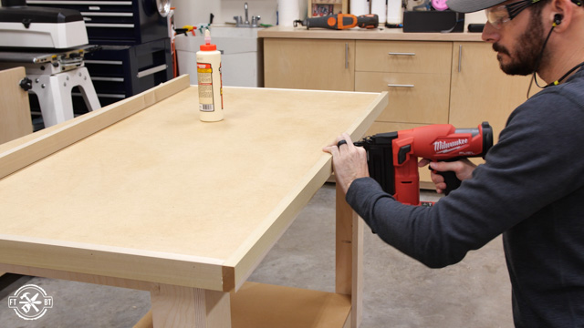 attaching edge to work surface