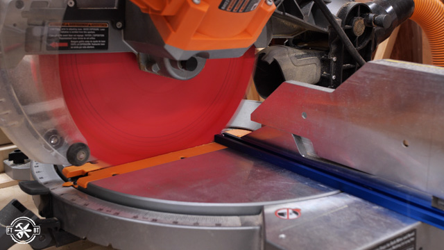 cutting the t-track with miter saw