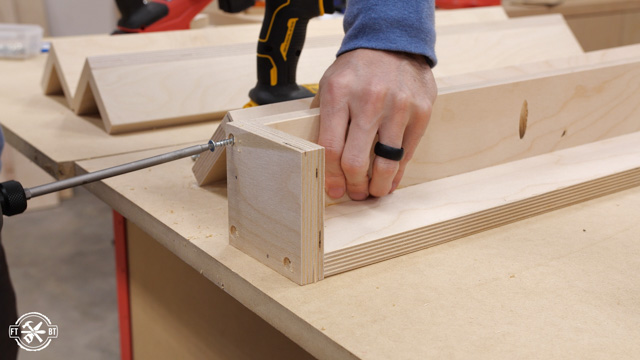 screwing square blocks to table legs