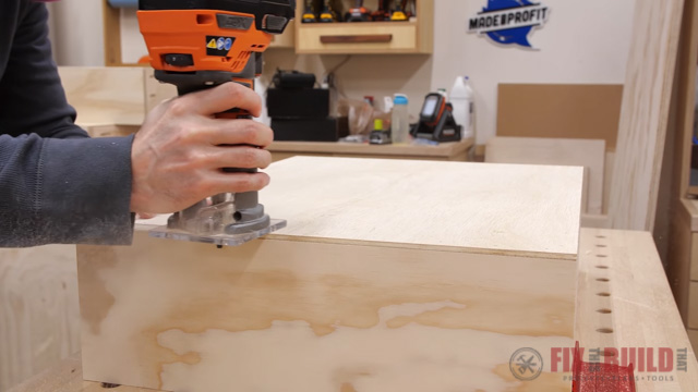 add chamfer to edge of drawer with router