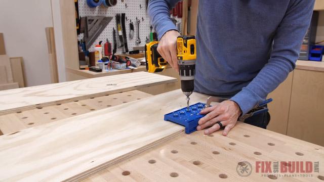 drilling holes for adjustable shelves